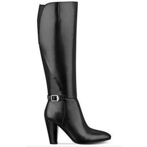 Marc Fisher Shayna Tall Black Leather Boot Size 8